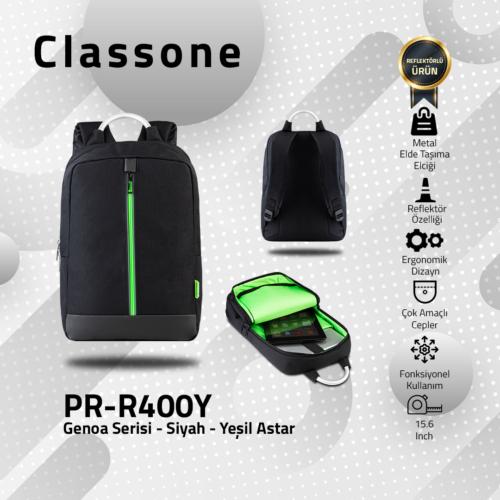 Classone Genoa Serisi PR-R400Y 15.6 Sırt Notebook Çantası-Siyah-Yeşil Astar