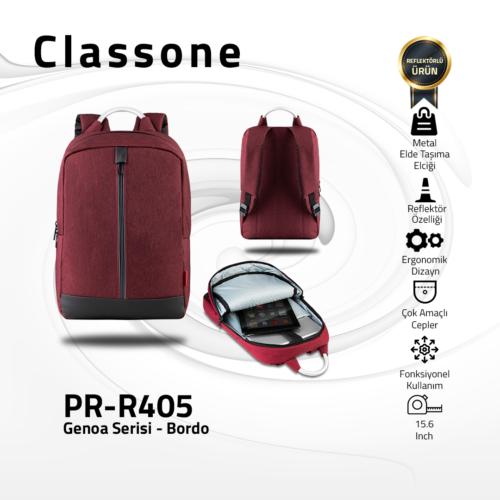 Classone Genoa Serisi PR-R405 15.6 Sırt Notebook Çantası-Bordo