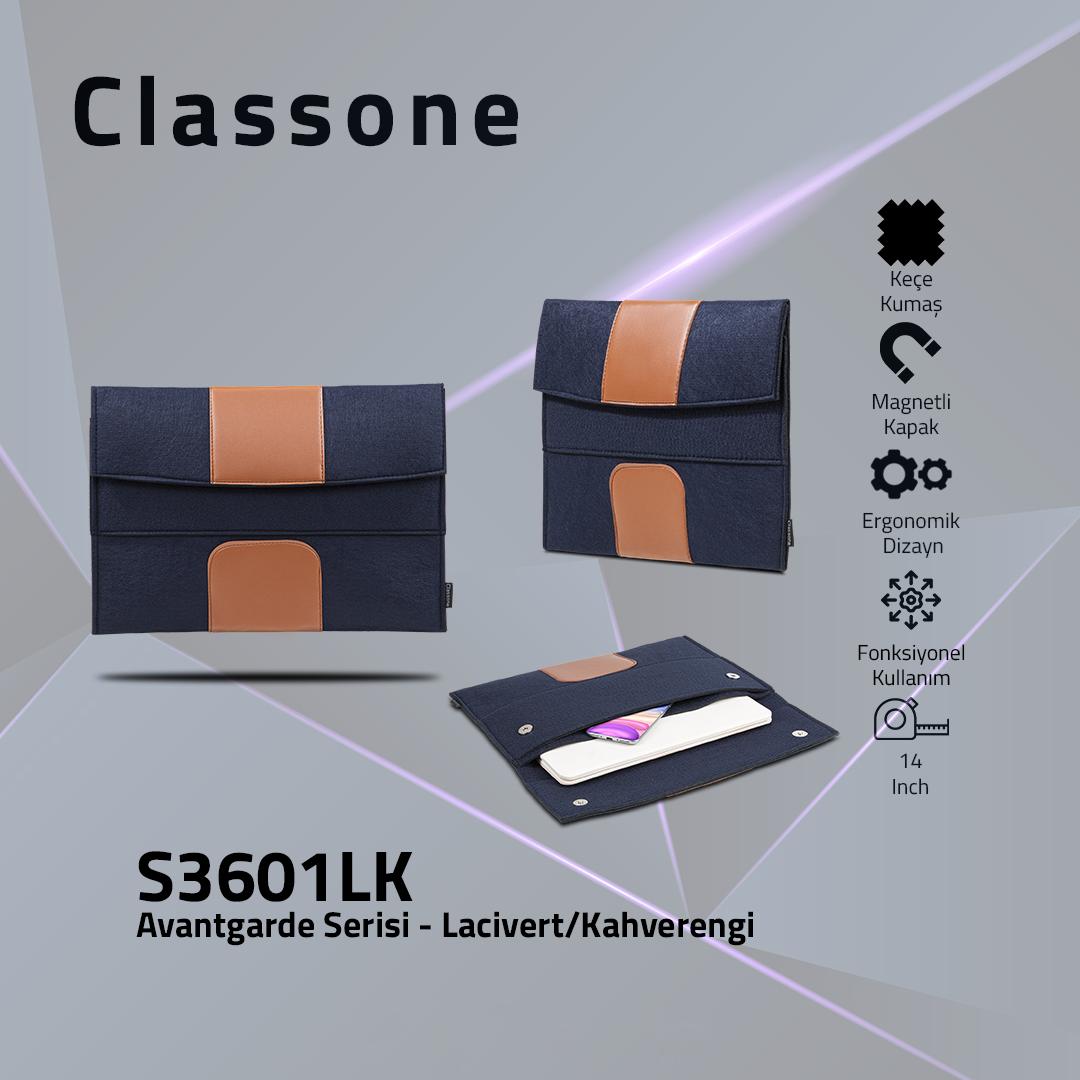 Classone S3601LK Avantgarde 13-14 inch Laptop Kılıf – Lacivert-Kahverengi