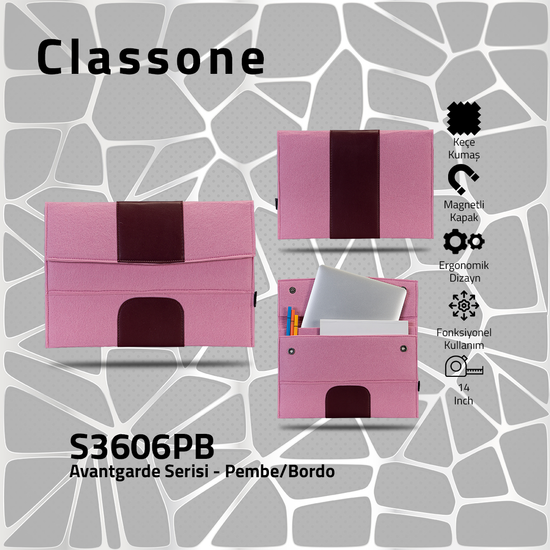 Classone S3606PB Avantgarde 13-14 inch Laptop Kılıf - Pembe-Bordo