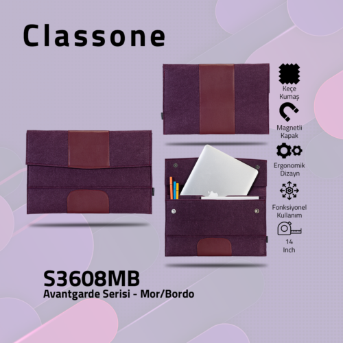 Classone S3608MB Avantgarde 13-14 inch Laptop Kılıfı - Mor-Bordo