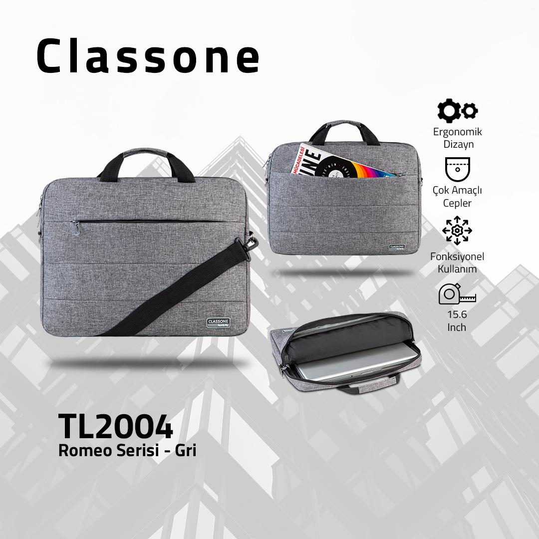 Classone Romeo Serisi TL2004 15.6 inch Uyumlu Notebook Çantası – Gri