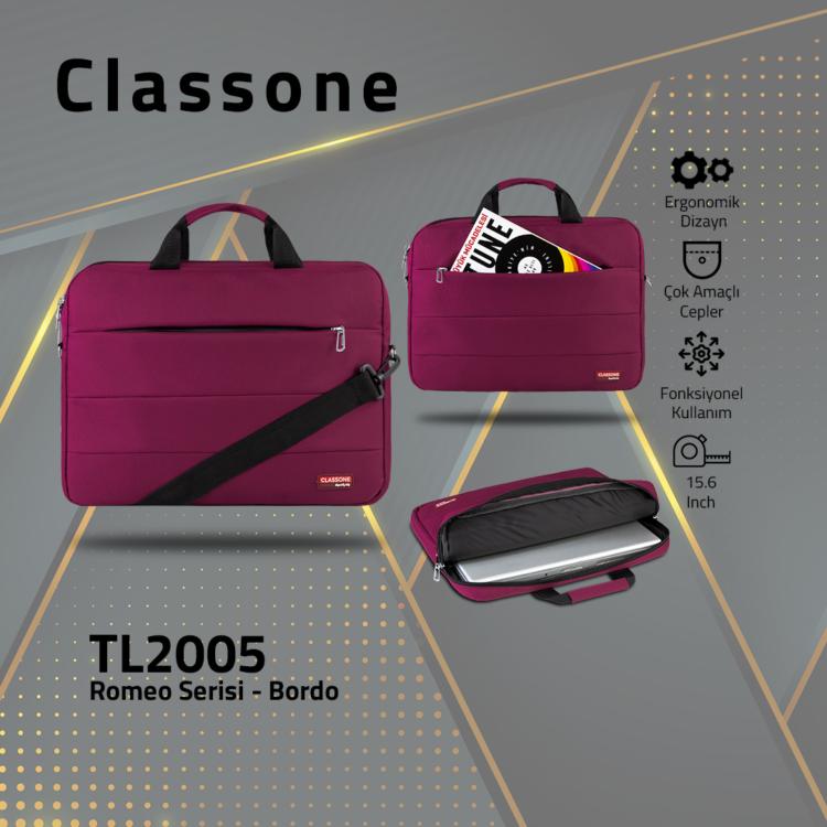 Classone Romeo Serisi TL2005 15.6 inch Uyumlu Notebook Çantası – Bordo