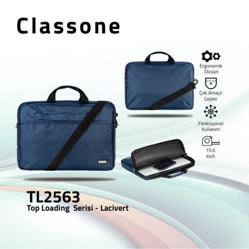 Classone TL2563 Top Loading Large Serisi 15,6 inch  Notebook Çantası Lacivert