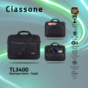 Classone Business Medium Serisi 13-14 inch uyumlu Laptop Çantası -Siyah