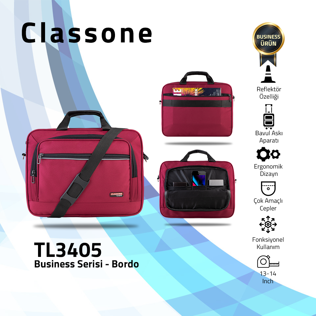 Classone Business Medium Serisi 13-14 inch uyumlu Laptop Çantası -Bordo