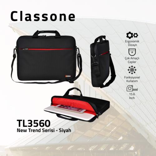 Classone TL3560 Newtrend Serisi 15,6 inch Notebook Çantası / Siyah