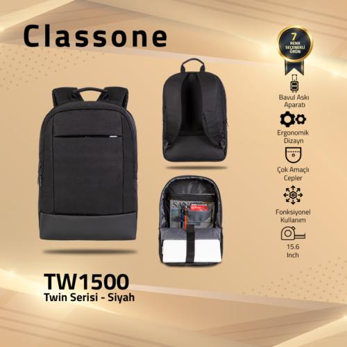Classone TW1500 Twin Color 15.6 inch  Notebook Çantası-Siyah