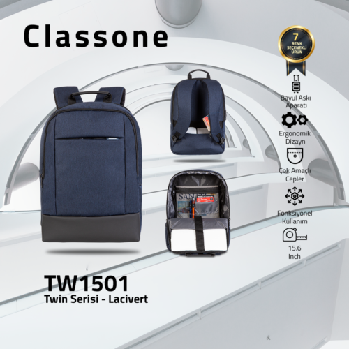 Classone TW1501 Twin Color 15.6 inch Notebook Çantası-Mavi
