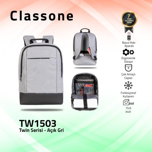 Classone TW1503 Twin Color 15.6 Sırt Notebook Çantası-Açık Gri