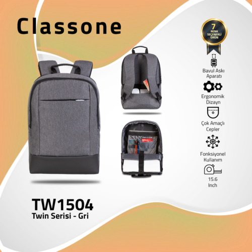 Classone TW1504 Twin Color 15.6 inch Notebook Çantası-Gri