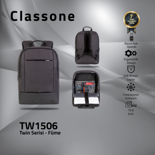 Classone TW1506 Twin Color 15.6 inch Notebook Çantası-Füme