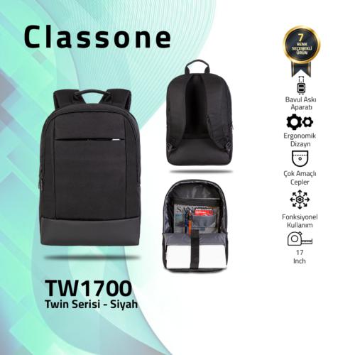 Classone TW1700 Twin Color 17 inch Notebook Çantası-Siyah