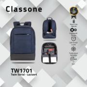 Classone TW1701 Twin Color 17 inch Notebook Çantası-Mavi