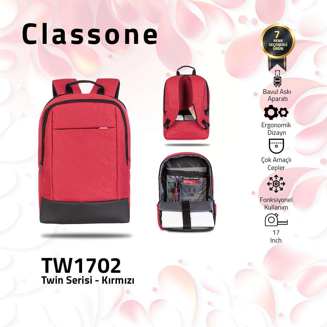 Classone TW1702 Twin Color 17 inch Notebook Çantası- Kırmızı