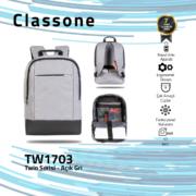 Classone TW1703 Twin Color 17 inch Notebook Çantası- Açık Gri