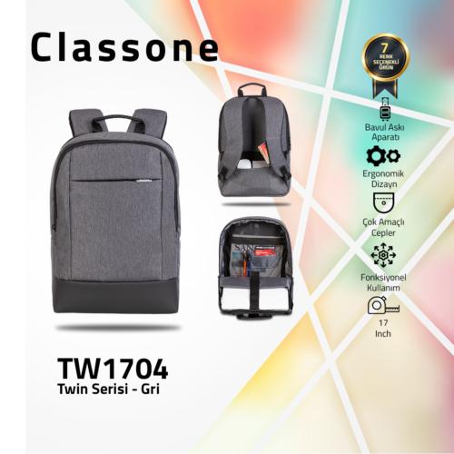 Classone TW1704 Twin Color 17 inch Notebook Çantası- Gri