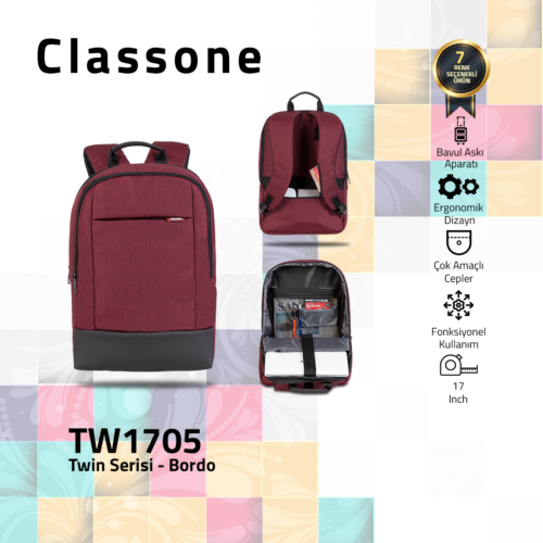 Classone TW1705 Twin Color 17 inch Notebook Çantası- Bordo