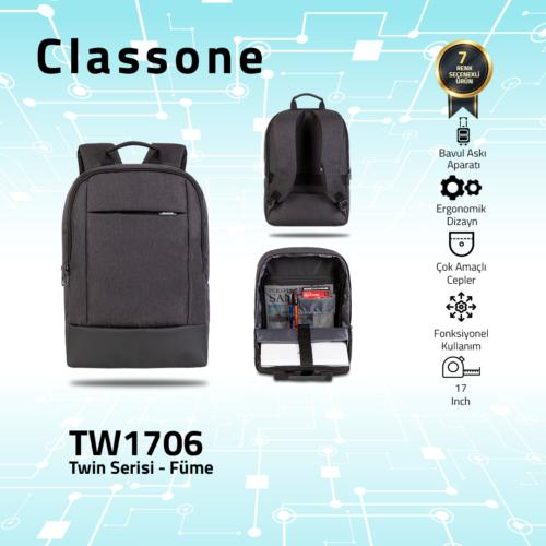 Classone TW1706 Twin Color 17 inch Notebook Çantası- Füme