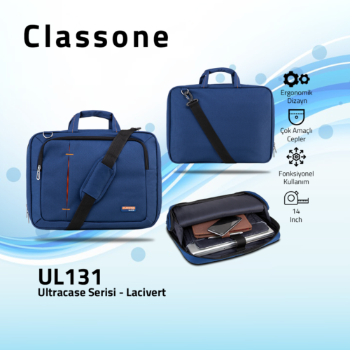 Classone UL131 Ultracase Serisi 13-14 inch Notebook Çantası Lacivert