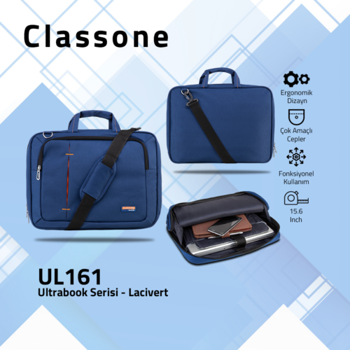 Classone UL161 Ultrabook Large Serisi 15,6 inch Notebook Çantası Lacivert