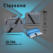Classone UL164 Ultrabook Large Serisi 15,6 inch  Notebook Çantası Gri
