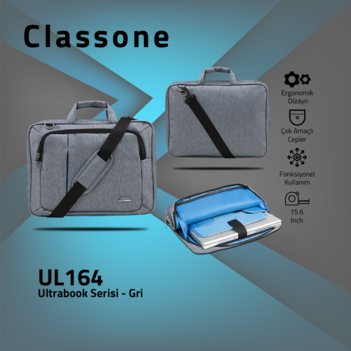 Classone UL164 Ultrabook Large Serisi 15,6 inch  Notebook Çantası Gri