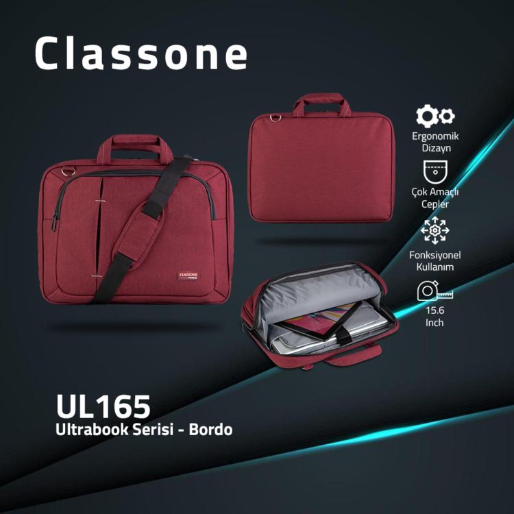 Classone UL165 Ultrabook Serisi Notebook Çantası 13.3 - 15,6 inch uyumlu- Bordo