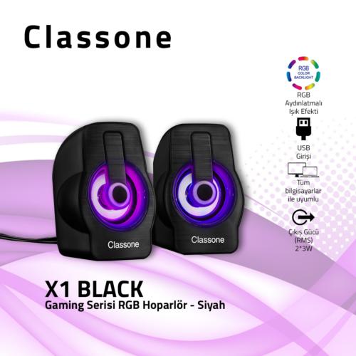 Classone X1 Black RGB Gaming Hoparlör - Siyah