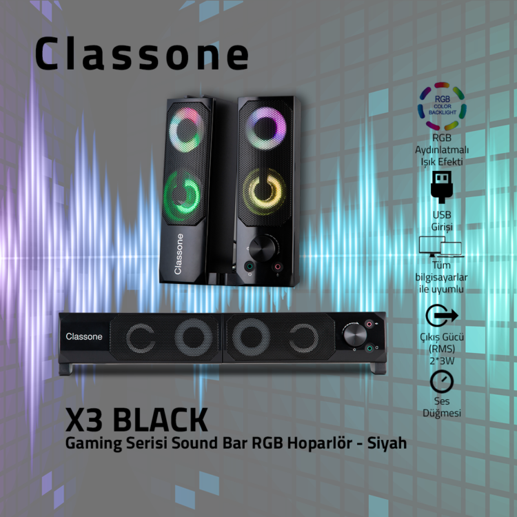 Classone X3 Black Sound Bar RGB Hoparlör