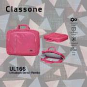 Classone UL166 Ultrabook Large Serisi 15,6 inch  Notebook Çantası Pembe