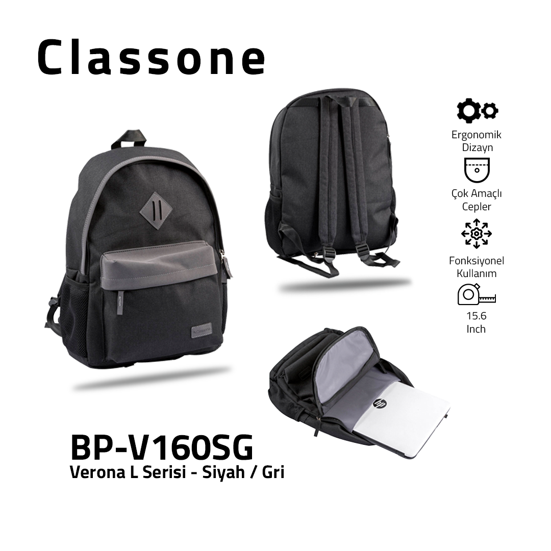 Classone BP-V160SG Verona L Serisi 15,6 inch Sırt Çantası Siyah-Gri