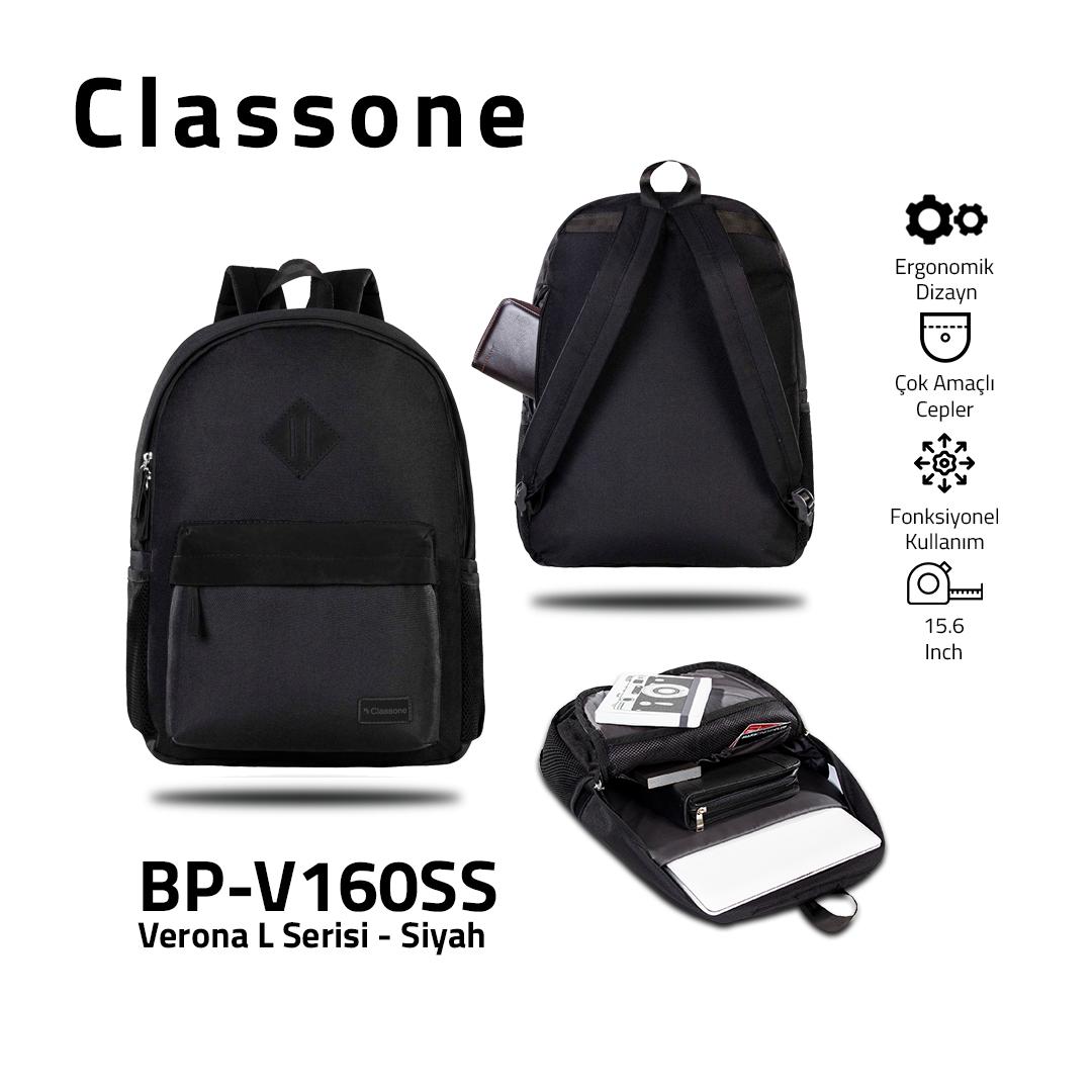 Classone BP-V160SS Verona L Serisi Sırt Çantası Siyah/Siyah