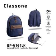 Classone BP-V161LK Verona L Serisi Sırt Çantası Lacivert - Kahverengi