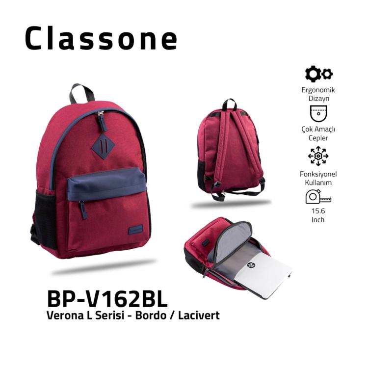 Classone BP-V162BL Verona L Serisi 15,6 inch Sırt Çantası Bordo - Lacivert