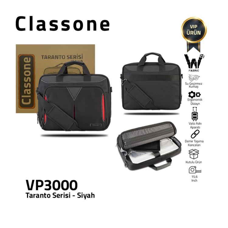 Classone Taranto Serisi 15.6 inch Su Geçirmez Kumaş Laptop El Çantası -Siyah