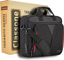 Classone Taranto Serisi VP3400 14 inch Su Geçirmez Kumaş Laptop El Çantası -Siyah
