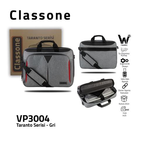 Classone Taranto Series 15.6 inch Waterproof Fabric Laptop Handbag-Gray
