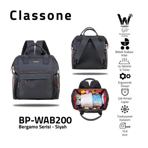 Classone BP-WAB200 Bergamo Serisi Anne Bebek Bakım Sırt Çantası -Siyah