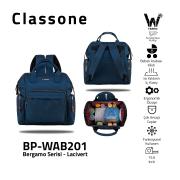 Classone BP-WAB201 Bergamo Serisi Anne Bebek Bakım Sırt Çantası -Lacivert
