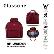 Classone BP-WAB205 Bergamo Serisi Anne Bebek Bakım Sırt Çantası -Bordo