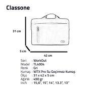 Classone WorkOut Serisi TL4004 15.6 inch Laptop , Notebook Çantası -Gri