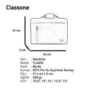 Classone WorkOut Serisi TL4005 15.6 inch Laptop , Notebook Çantası -Bordo