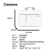 Classone WorkOut Serisi TL7005 15.6 inch Laptop , Notebook Çantası -Bordo