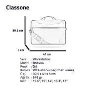 "Classone WorkStation1 Serisi BND404 15.6 "" Laptop Çantası-Gri"
