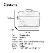 "Classone WorkStation3 Serisi BND604 15.6 "" Laptop Çantası-Gri"