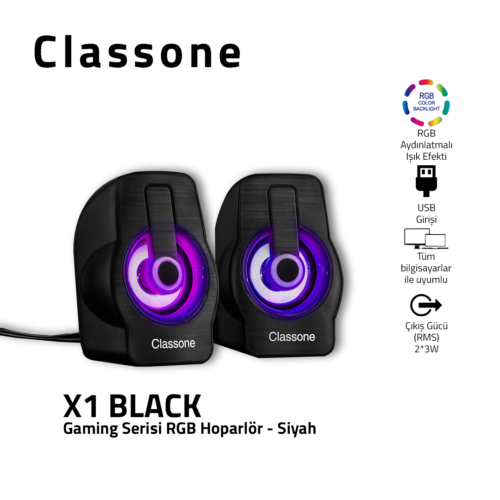 Classone X1 Black RGB Gaming Speaker - Black