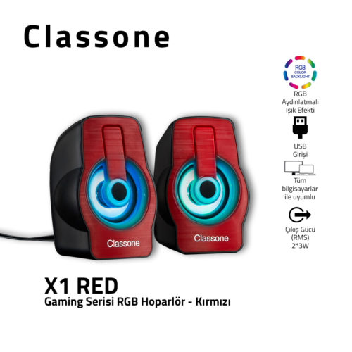 Classone X1 Red RGB Gaming Speaker - Red