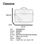 """Classone WorkStation Serisi BND605 15.6 """" Laptop Çantası-Bordo"""