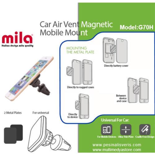 Klima Peteğine Takılan, Magnetli, Araç İçi Telefon Tutucu